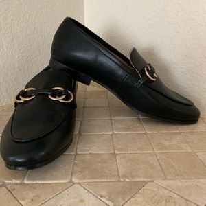 Brand new H&M black loafers with gold detail